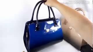 Сумка лаковая женская синяя. Обзор сумки.