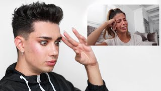 James Charles reacting to Laura Lee's apology video
