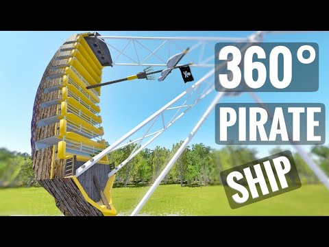 Flat Ride 360 video Pirate Ship Roller Coaster Carousel 360° POV 4K PSVR