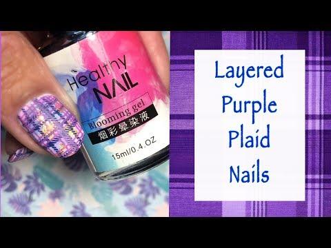 Layered Purple Plaid Nails    ZJoy