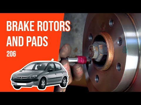 How to replace the front brake rotors and pads PEUGEOT 206 🚗