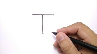 VERY EASY, how to turn letter T into TARZAN CARTOON for KIDS / learn how to draw