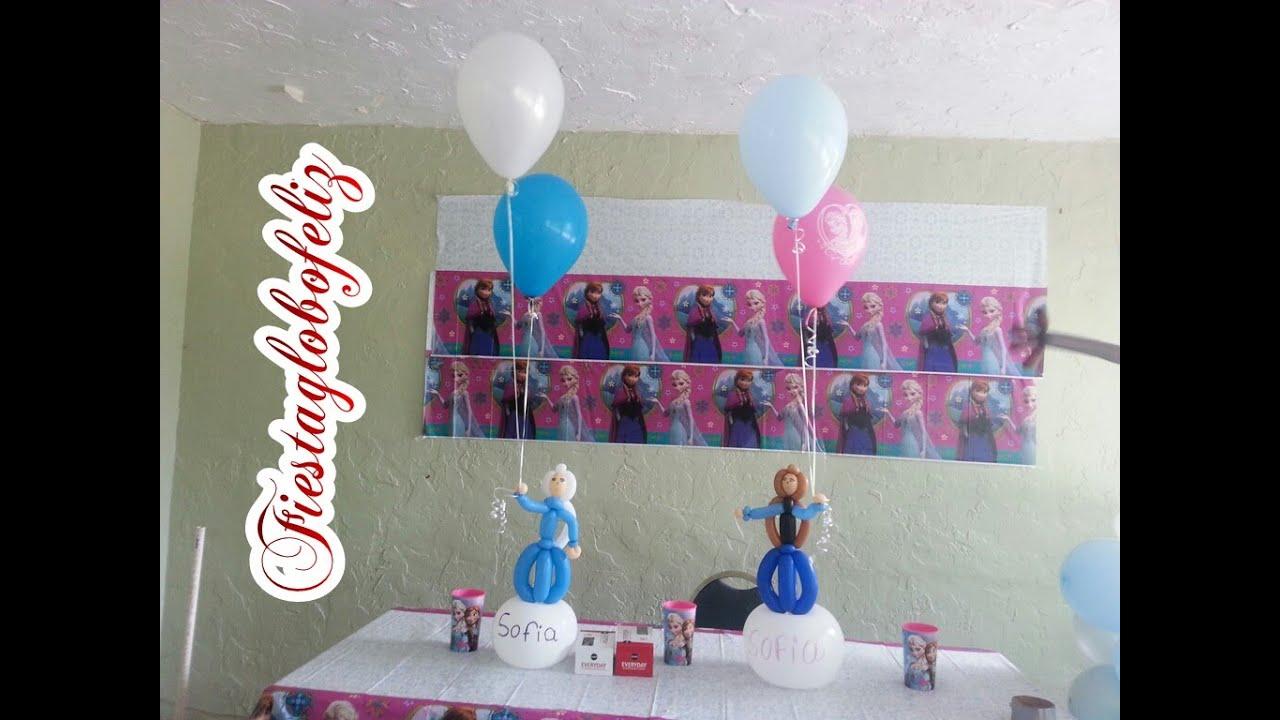 como hacer un centro de mesa de elsa y anna de frozen con globos youtube
