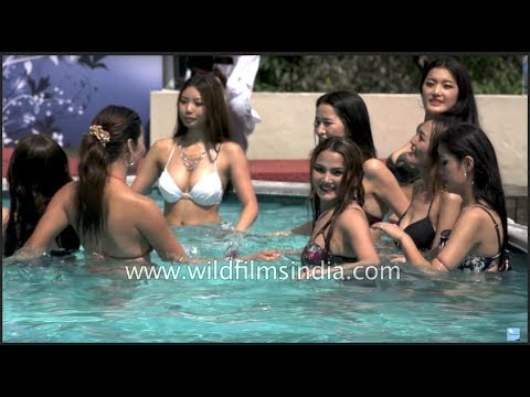 Girls Dance In The Pool - Miss Tibet 2017 Contest