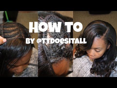 How to: 💁🏽Deep Side Part Sew in - YouTube