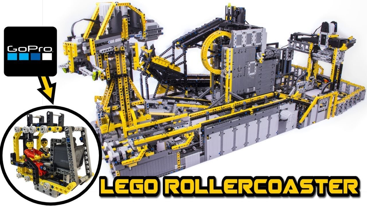 huge lego technic figure rollercoaster with gopro camera. Black Bedroom Furniture Sets. Home Design Ideas