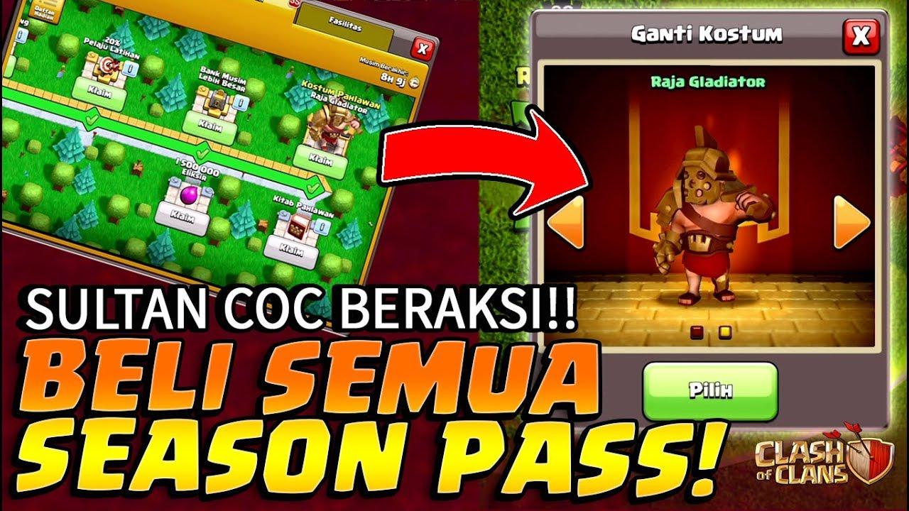 Sultan Beli Semua Season Pass Baru Coc Skin Gladiator Papa King