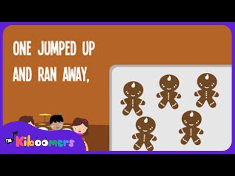 5 Gingerbread Men | Song Lyrics Video | Kids Christmas Songs | The Kiboomers