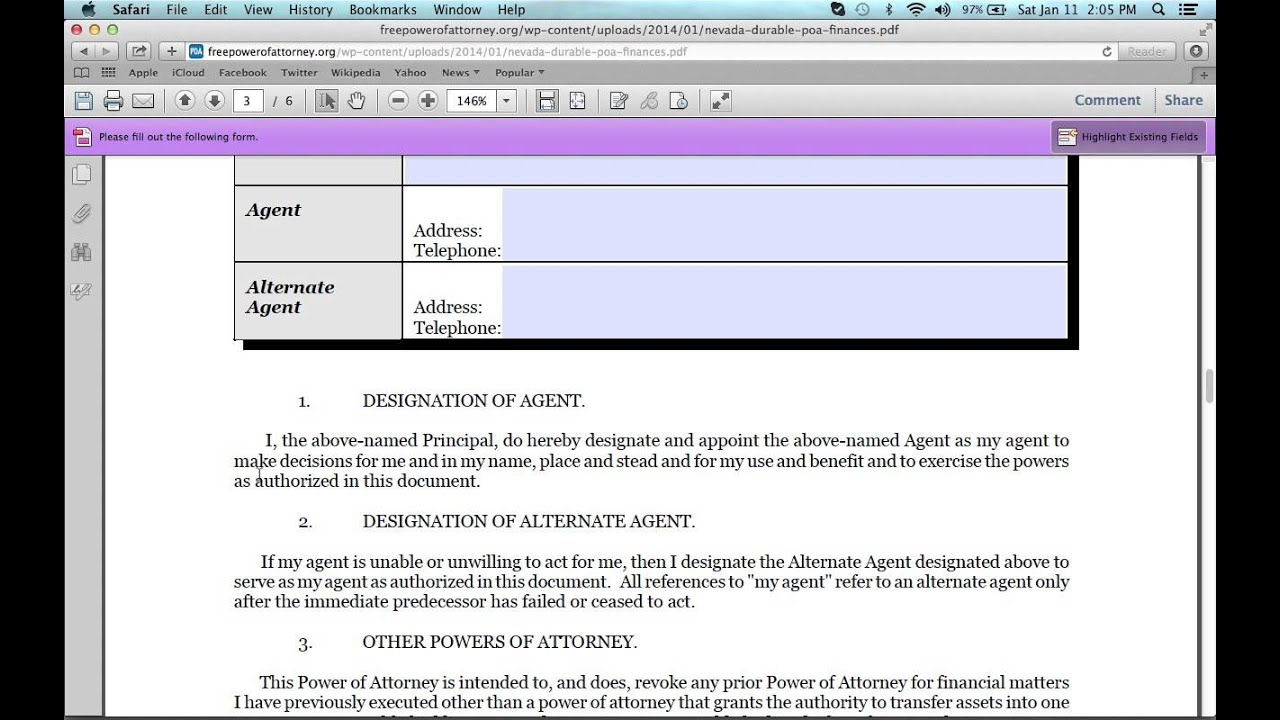 How to Fill in a Free Nevada Power of Attorney Form - YouTube
