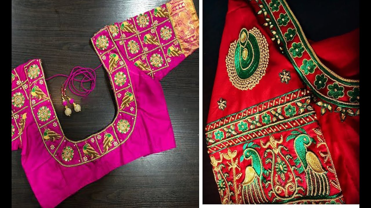330ba44b363bee Latest Thread Embroidery Work Blouse Designs For Silk Saree 2018 Collection  | Maggam Work |Aari Work