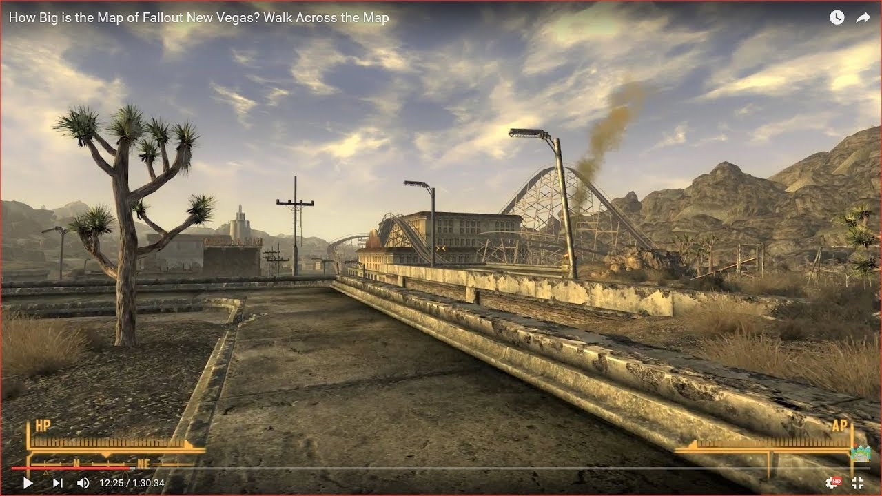HOW BIG IS THE MAP in Fallout New Vegas? Walk Across the Map (longer ...
