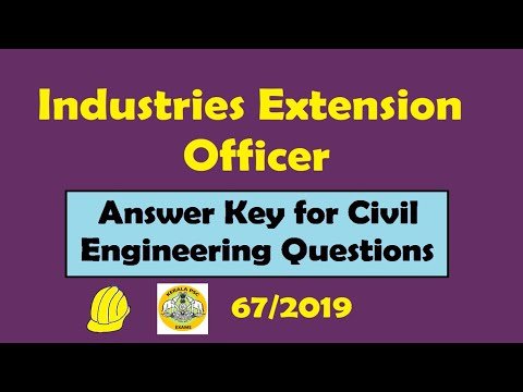 Industrial Extension Officer - Answer Key for Civil Engineering Questions held on 03-12-2019