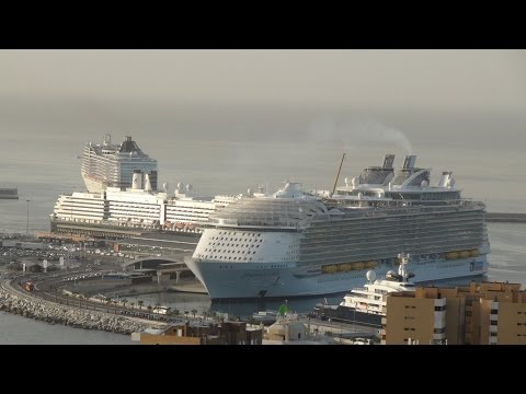 Harmony of the Seas: Malaga, Spain Arrival & Departure (with MSC Splendida & MS Oosertdam) on 10/26