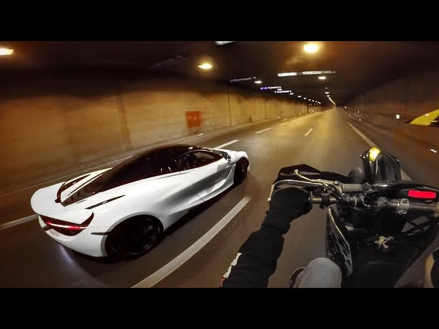 Cold Supermoto Stunts: KTM EXC vs McLaren