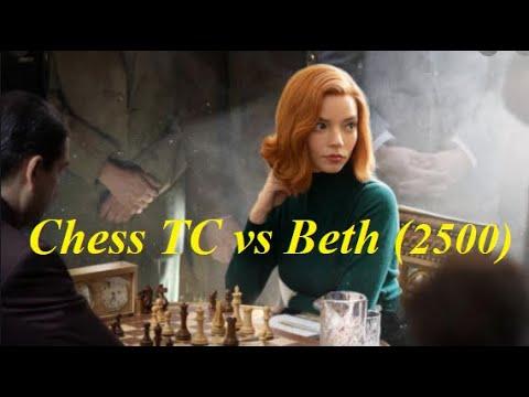 Beth Harmon Elo 2500 rất khôn ngoan khi chơi Gambit Evan đối đầu Chess TC