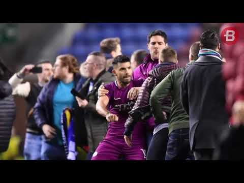 Sergio Aguero Terlibat Perkelahian dengan Suporter Wigan Usai Manchester City Tersingkir dari Piala