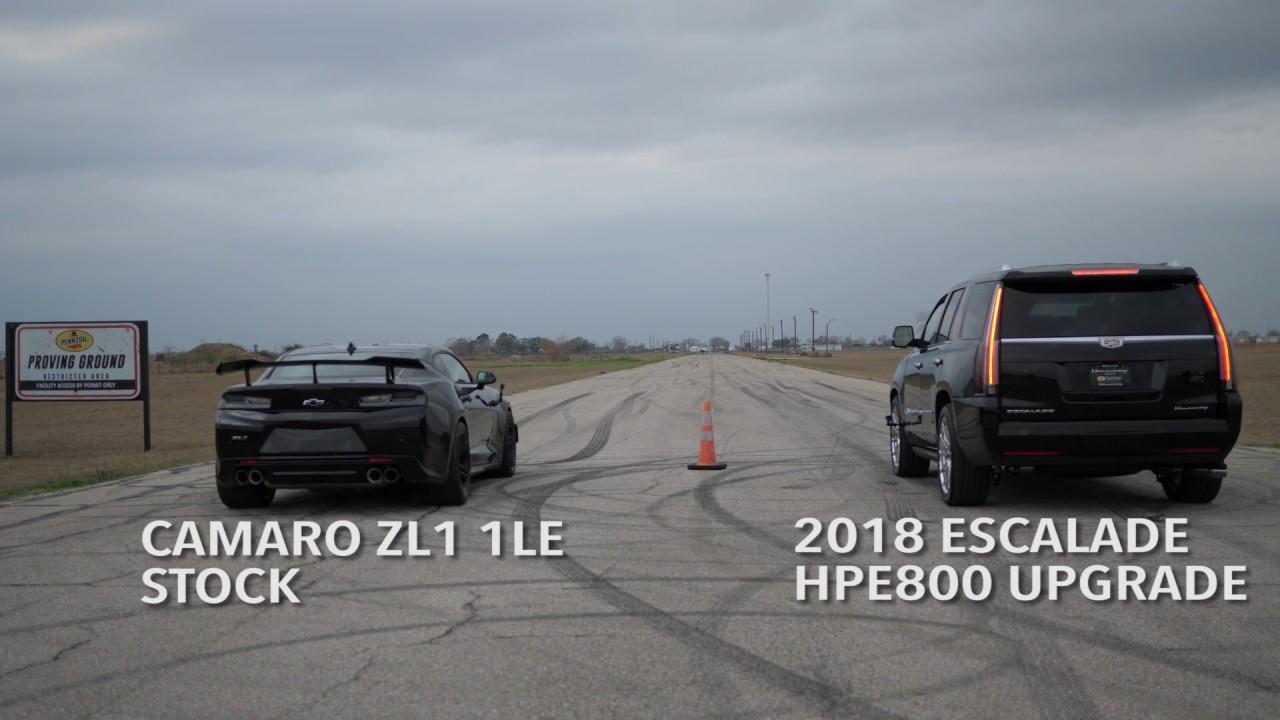 800 HP Hennessey Escalade vs Camaro ZL1 1LE - YouTube