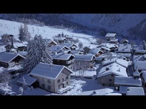Snowy Drone Shots Around Chamonix Mont-Blanc In Winter