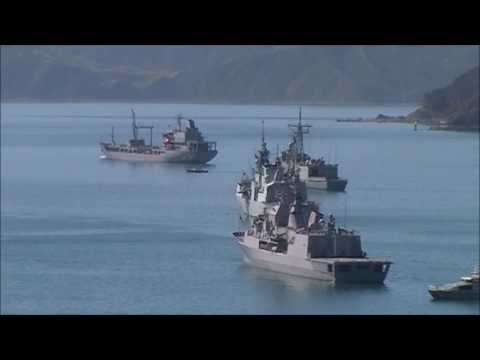 Navy flotilla for Royal New Zealand Navy 75th anniversary, Wellington Harbour, 20-11-2016