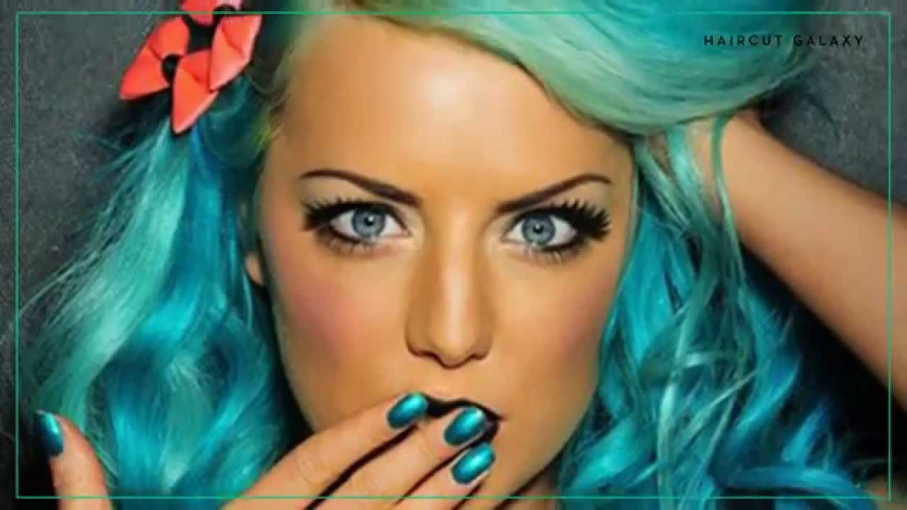 turquoise dyed hair color - haircut
