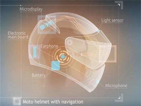 LiveMap: Motorbike helmet with GPS navigation. Bike HUD
