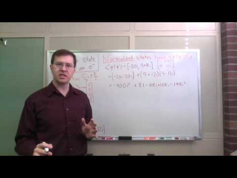 Quantum state vector for electron spin: normalization