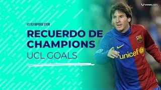 Dos grandes goles de Leo Messi contra Olympique de Lyon