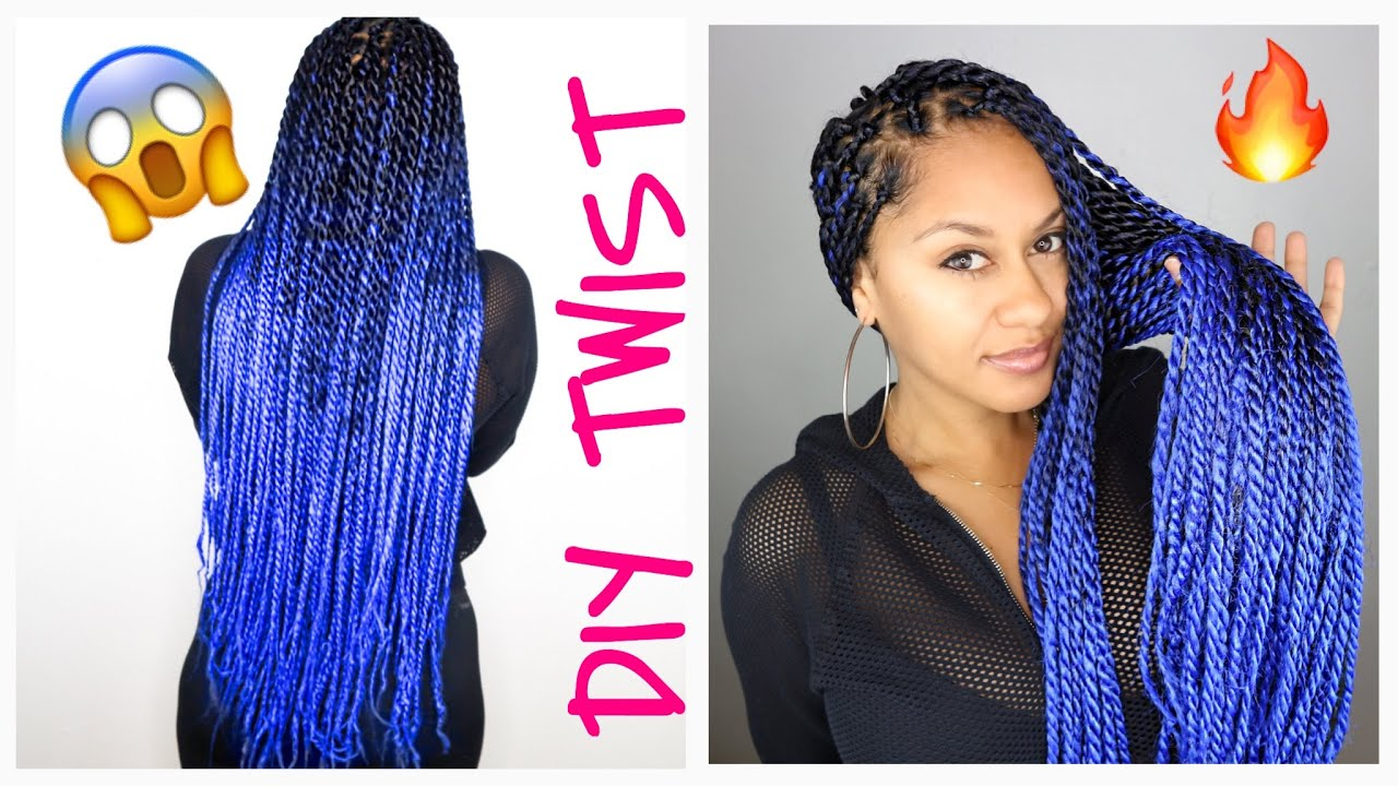 Blue Ombré Senegalese Twist Tutorial With Kanekalon Hair Prep Installation Diy