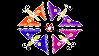 Butterfly rangoli design for beginners 12*2dots with colors | Rangoli for beginners |