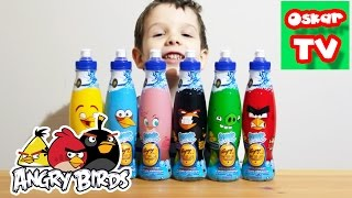 Энгри Бёрдс Сюрпризы в бутылке Игрушки Распаковка Angry Birds Juice unboxing toys Oscar TV
