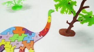 learning alphabet abc with dinosaur toy wooden puzzle for children