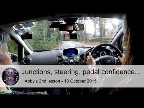 Junctions, steering, pedal confidence. Abby's 2nd lesson 18/10/2015