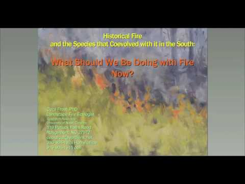 SFE Webinar: Historical Fire And The Species That Coevolved With It In The South