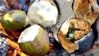 Coconut Chicken Recipe - Chicken Fry Recipe Cooking Chicken in Green  Coconut - Food Cooking Videos