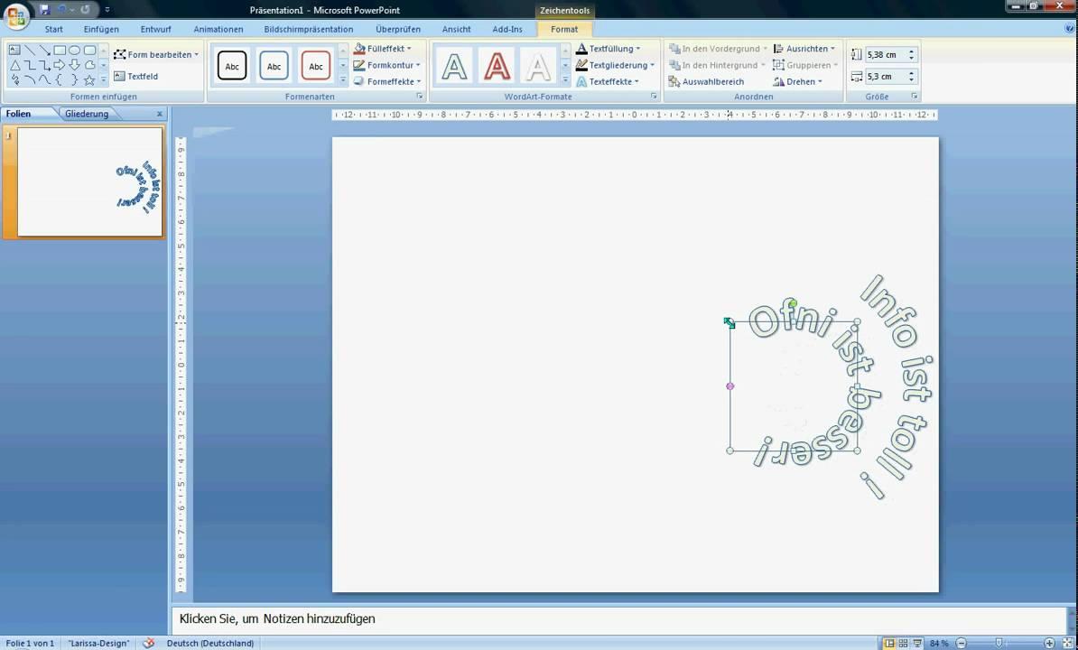 PowerPoint 2007 - Im Kreis schreiben - YouTube