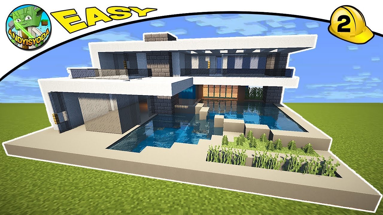 Minecraft modern house tutorial default 2 by for Minecraft modern house 9minecraft