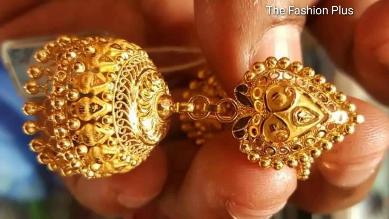 Latest Gold Jhumka Earring Designs Pinjada
