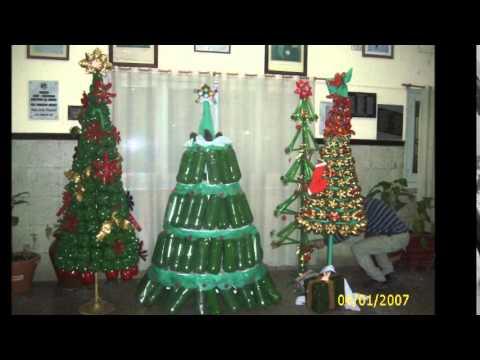 Producci n de rboles navide os 2014 hecho con botellas for Adornos navidenos hechos con botellas plasticas