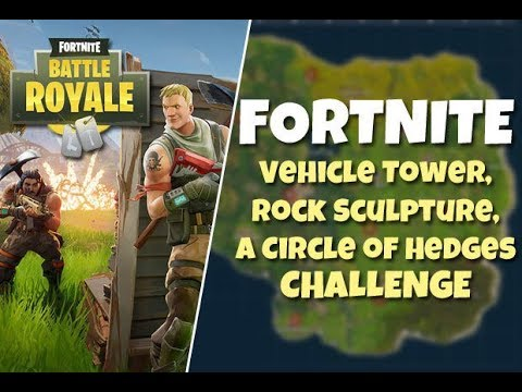 Fortnite Vehicle Tower Rock Sculpture And Hedges Challenge Map