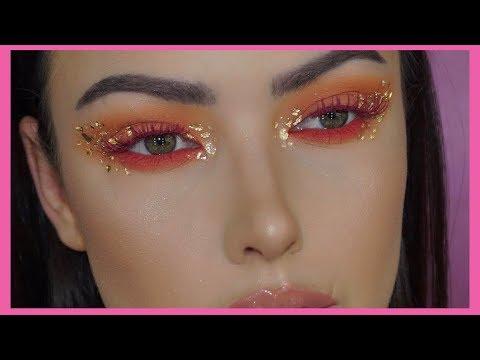 PEACHY RED + GOLD FLAKES MAKEUP TUTORIAL   v e r a thumbnail