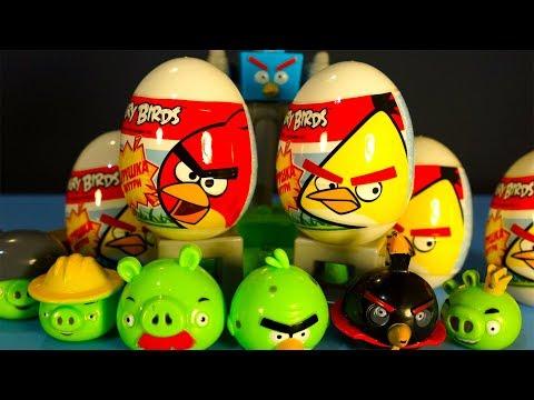 Энгри Бёрдс Сюрпризы Angry Birds Kinder Surprise Злые Птички Мультик Лепим из плей До Превращения