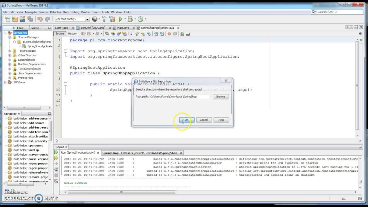 Netbeans - spring boot project creation and push to GitHub