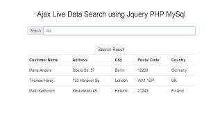 Ajax Live Data Search using Jquery PHP MySql