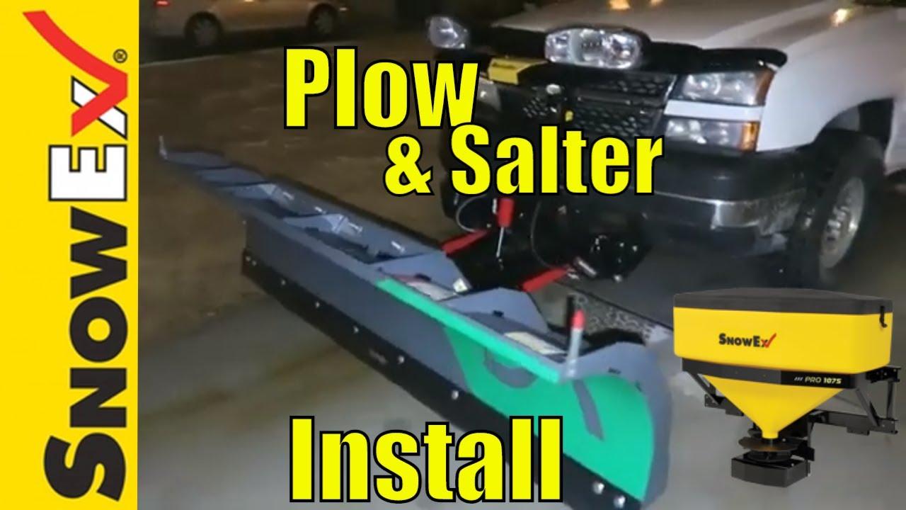 How To Mount A Snow Plow To Chevy Silverado Snowex 1075 Salter Youtube