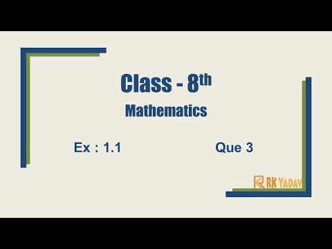 Ex 1.1 Q 3 Class 8 Chapter 1 #RationalNumber @RK Yadav