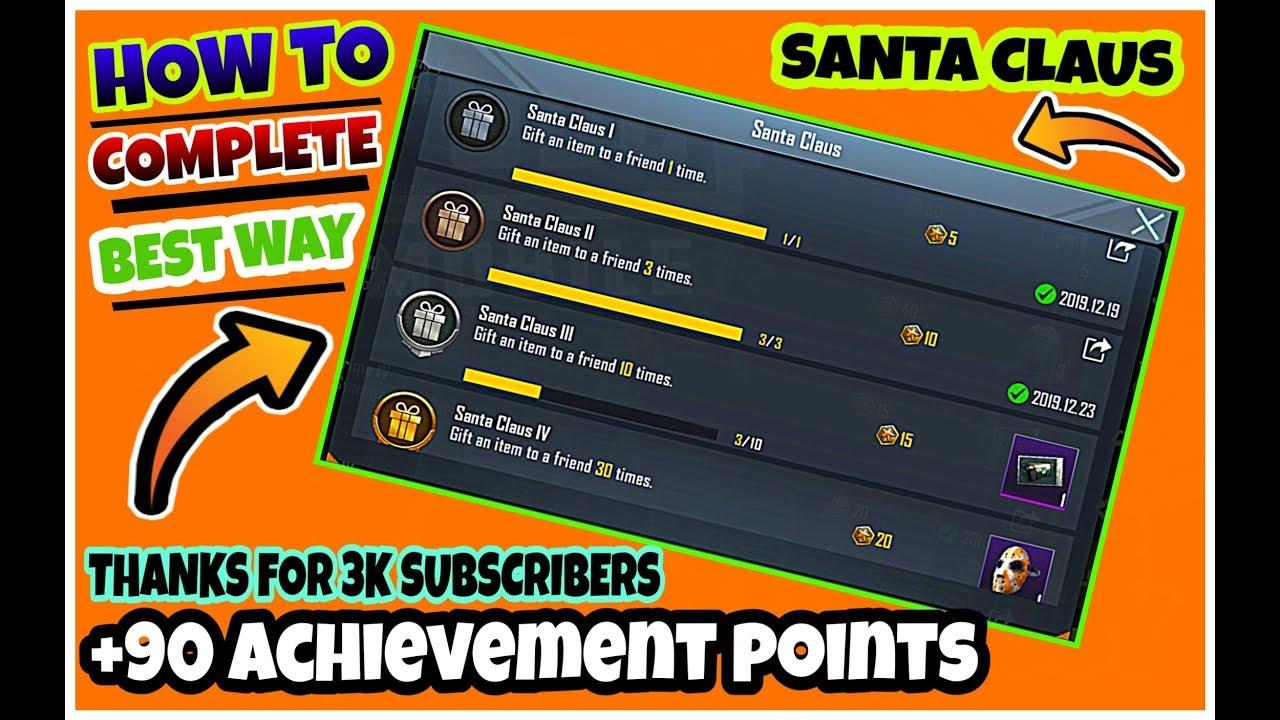 Download BestWay To Complete Santa Claus Achievement | +90 Achievements Points In Pubg Mobile