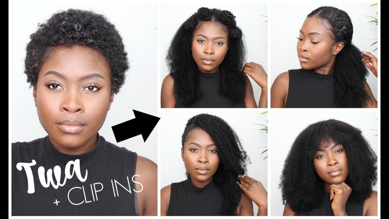 Styles For Short Natural Hair With Clip Ins Type 4 Hair Youtube