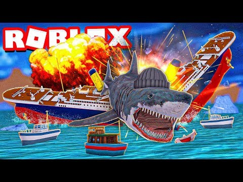 I Destroyed The Titanic As A Huge Shark In Roblox Shark Bite