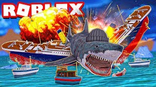 Ho distrutto il TITANIC come un ENORME SHARK in Roblox Shark Bite !!