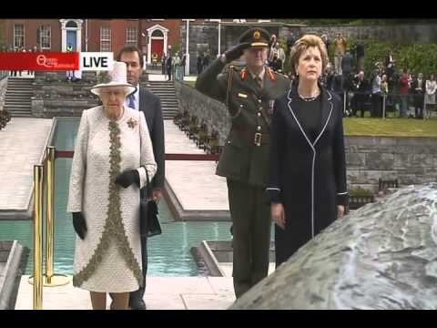 QUEEN VISITING THE GARDEN OF REMEMBRANCE IN DUBLIN